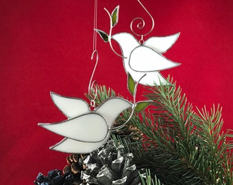 Peace Dove Stained Glass Ornament Bird White - Weddings Christenings Christmas Holidays Confirmation Sun catcher