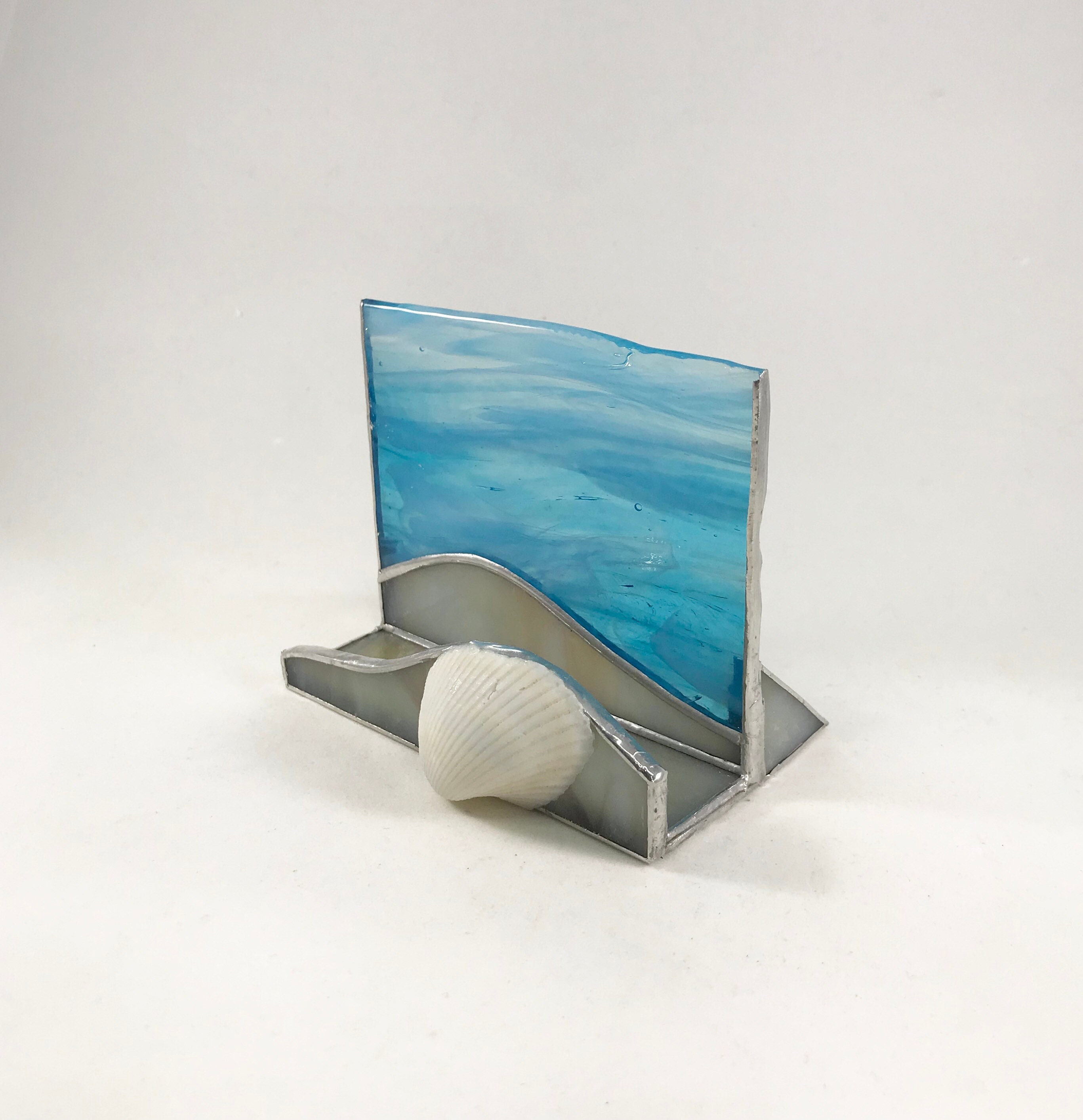 Stained glass phone stand business card holder seashell beach ocean stained glass phone stand business card holder seashell beach ocean blue iphone android galaxy tablets ipad kindle fire free shipping colourmoves