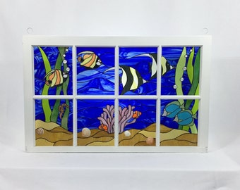 Stained Glass Window Under The Sea tropical fish aquarium