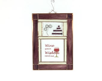 Wine Lover Beveled Stained Glass Wall Decoration