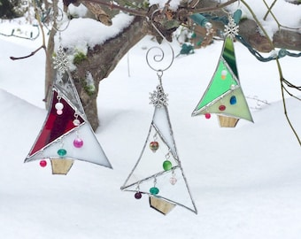 Stained Glass Tree Ornament Whimsical Christmas Holiday Decoration - Red Green White