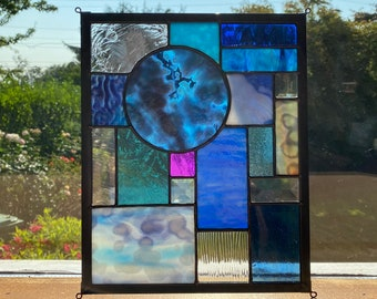 Textured Blue with Clear Abstract Stained Glass Suncatcher Window Display