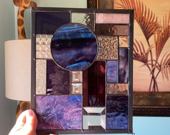 Textured Purple with Clear Abstract Stained Glass Suncatcher Window Display