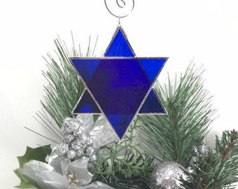Star of David Stained Glass Ornament - Hanukkah Bat Mitzvah Bar Mitzvah Suncatcher Blue Silver