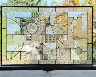 """Large Stained Glass Privacy Window with Clear Textured and Beveled Glass - 21"""" x 33"""""""