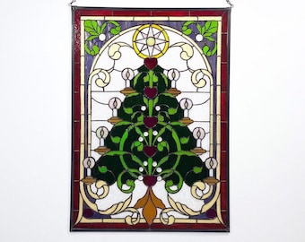 Christmas Tree Large Stained Glass Wall or Window Decoration