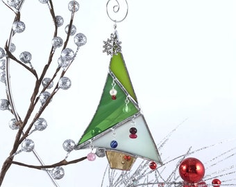 Christmas Tree Ornament Stained Glass Whimsical Holiday Decoration Green White Silver