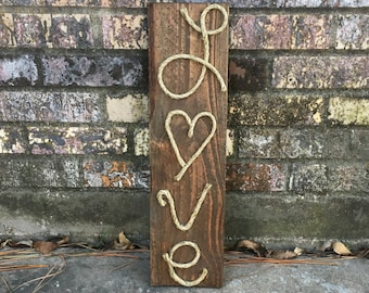 Rustic wood love sign, love sign, wood signs, 19.5in tall rustic sign.