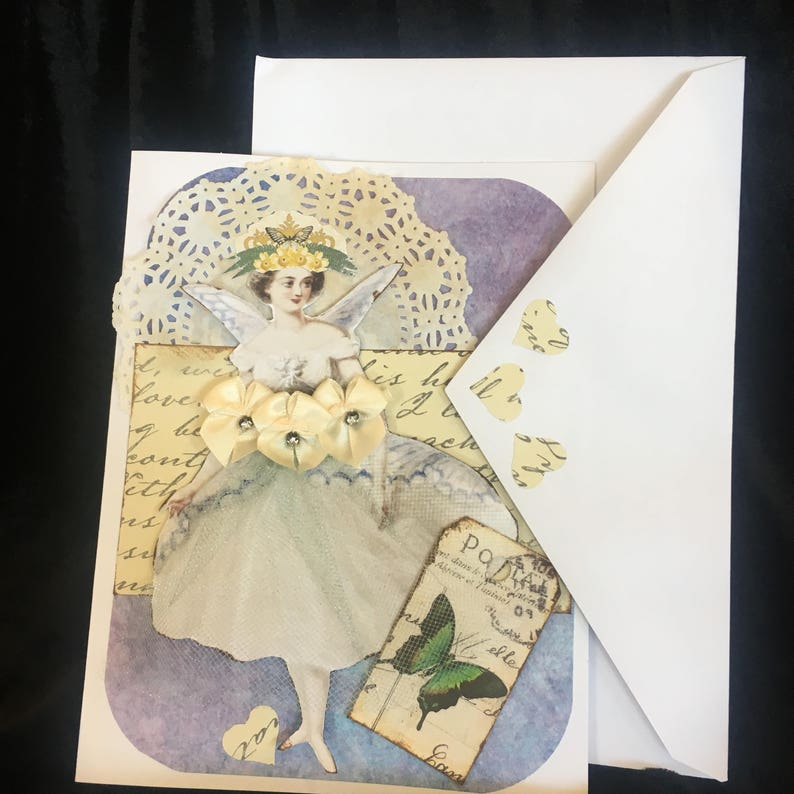 lovely one of a kind Romantic hand made vintage greeting card with Forever Yours sentiment inside.