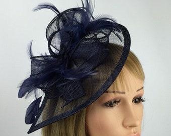 f6308dad Dark Navy Blue Fascinator Teardrop Hatinator Wedding Mother of the Bride  Ladies Day Ascot Races Occasion Event