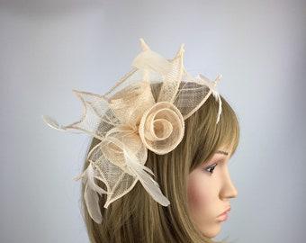 Nude Headband Aliceband Hat Fascinator Weddings Ladies Day Race Royal Ascot 23