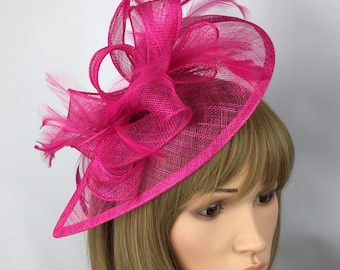 0b2753e697485 Fuchsia Pink Hot Pink Fascinator Sinamay Fascinator wedding mother of the  bride Ladies Day Ascot races