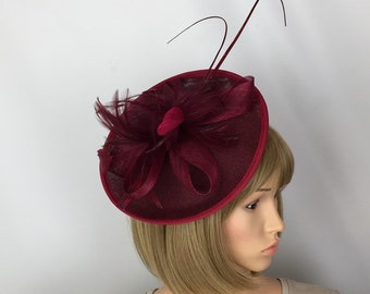 Burgundy Fascinator Red Wine Fascinator Wedding Mother of the Bride Ladies  Day Ascot Races Occasion Mother of the Groom 1bfc3ab01d2