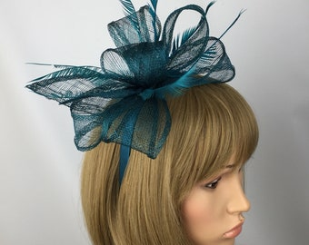 Teal Fascinator Hatinator Wedding Hatinator Taces Ascot Ladies Day Mother  of the Bride Occasion f52513d4cc9