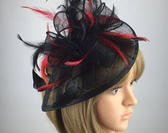 Black and Red Fascinator Red and black Wedding Fascinator hatinator mother  bride Ladies Day hatinator Ascot races occasion formal hat b310fb8b4e7
