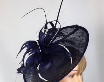 f1e9df1e Dark Blue Navy Blue and White Fascinator Hatinator Mother of the Bride  Wedding Ladies Day Groom Occasion Races Tea Party