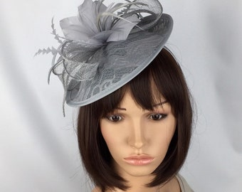 72c6faf2 Grey Fascinator Pale Silver Hatinator Wedding Mother of the Bride Groom  Races Ladies Day Occasion Hat