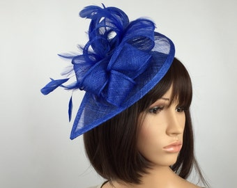 7222c95c6d Royal Blue Fascinator teardrop Sinamay Fascinator wedding mother bride  Ladies Day   Ascot races