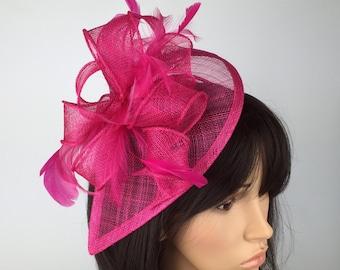 Fuchsia Hot Fascinator Wedding Hat Ladies Day Race Royal Ascot Hatinator  prom d368627653a