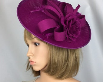 f2da47c35a45d Magenta Fascinator Pink Hatinator Purple Fascinator on Hair Clip Wedding Hat  Mother of the Bride Ascot Derby Races