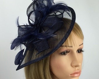 Dark Navy Blue Fascinator Teardrop Shaped Feathers Sinamay Fascinator on  Aliceband Hair band Hat Wedding Day Mother 305159802fad
