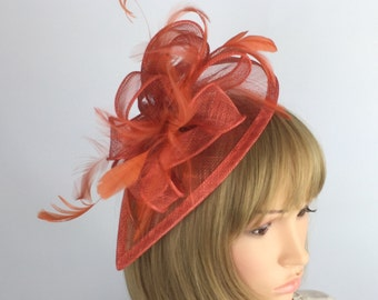 Rusty Burnt Orange Fascinator Wedding Mother of the bride Ascot Races  Ladies Day Event Occasion 9dabcc52725