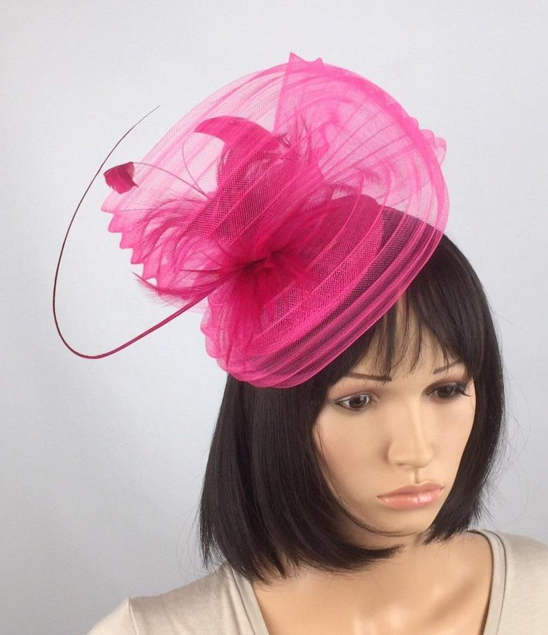 aeef9e8208bfc Fuchsia Pink Fascinator Pink Hatinator pleated crin fascinator