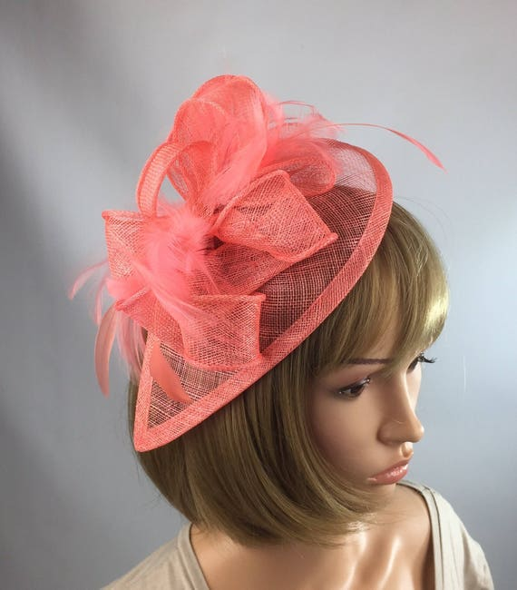 7ab7c67bcd0d2 Coral fascinator Salmon fascinator Wedding Mother of the Bride
