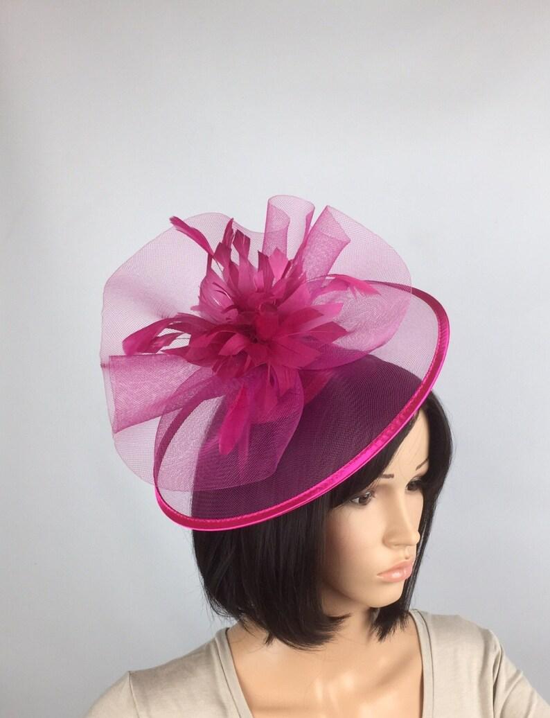 29c57090bf2f3 Fuchsia Pink Fascinator Hot Pink Hatinator Mother of Bride