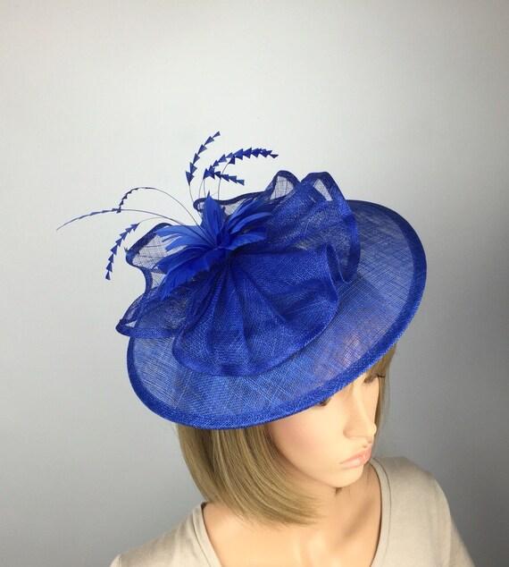 Hatinator Cobalt Royal Blue White Saucer Hat Wedding Formal Disc Fascinator