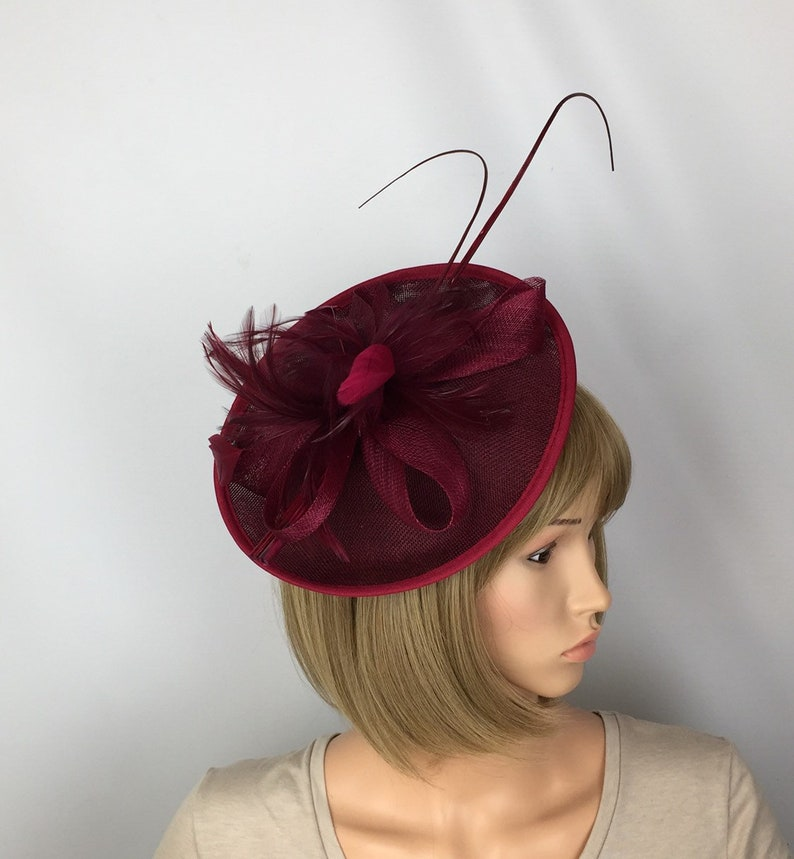 db09a3c4 Burgundy Fascinator Red Wine Fascinator Wedding Mother of the | Etsy