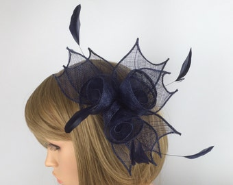 Dark Blue Fascinator navy Blue sinamay fascinator comb wedding races mother of bride occasion hair accessory