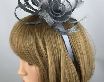 Grey Fascinator Silver Gray wedding fascinator pewter grey ascot races hat occasions mother of the bride hatinator