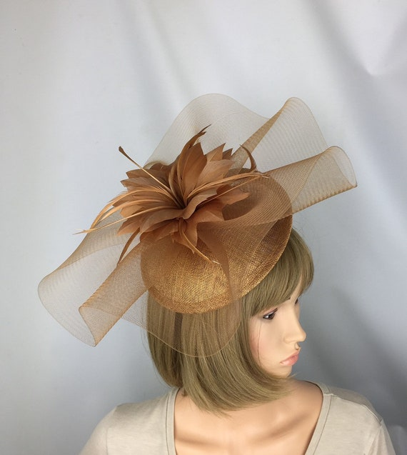 Rusty Gold Bronze Fascinator Wedding Mother of the bride  1d20277e4a7