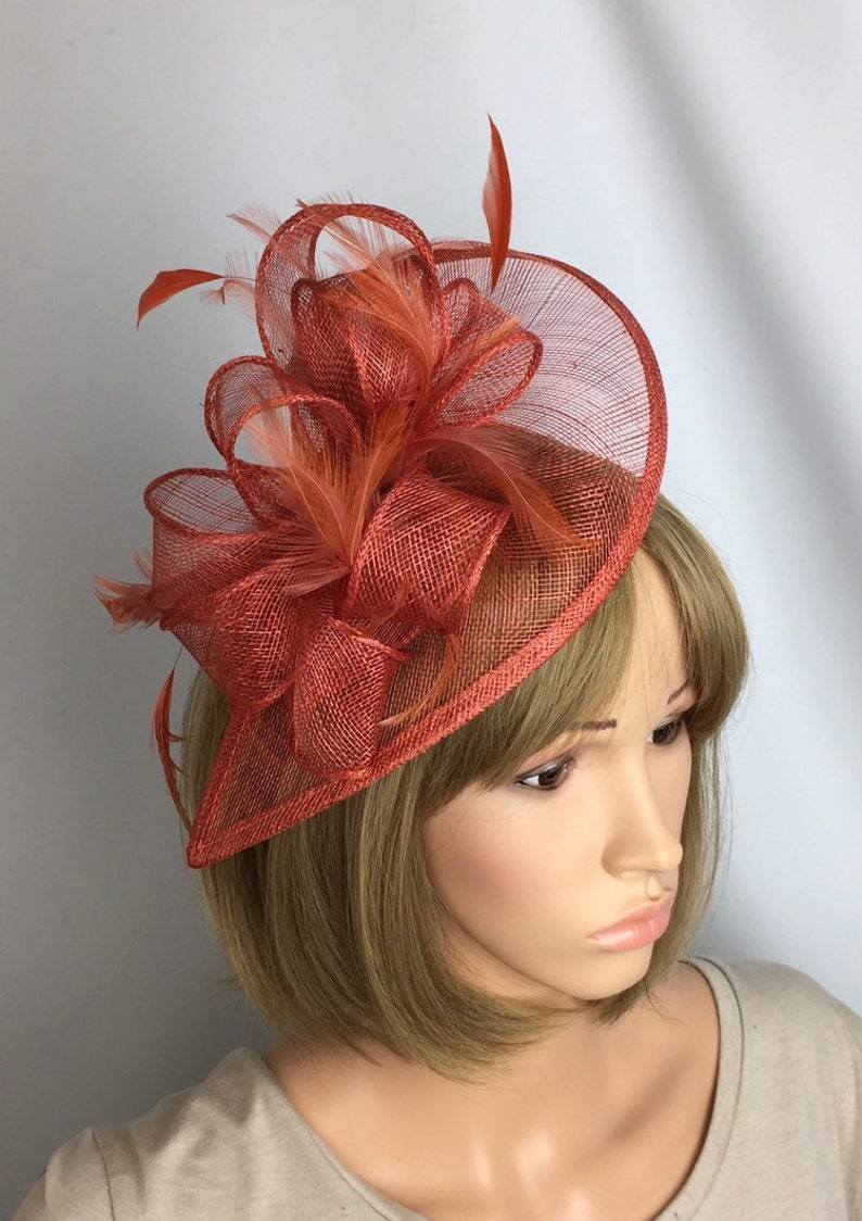 2fa753cc8dd31 Rusty Burnt Orange Fascinator Hatinator Wedding occasion