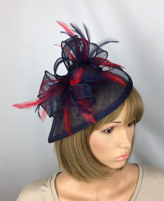 Navy and Red Fascinator Dark Blue and Red Fascinator Mother of  2c2cdc5243d