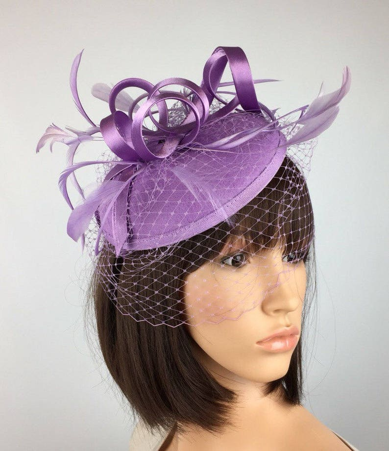 Pale Purple Fascinator Pillbox Wedding Hat Lilac Fascinator  2d2cb27cf1e
