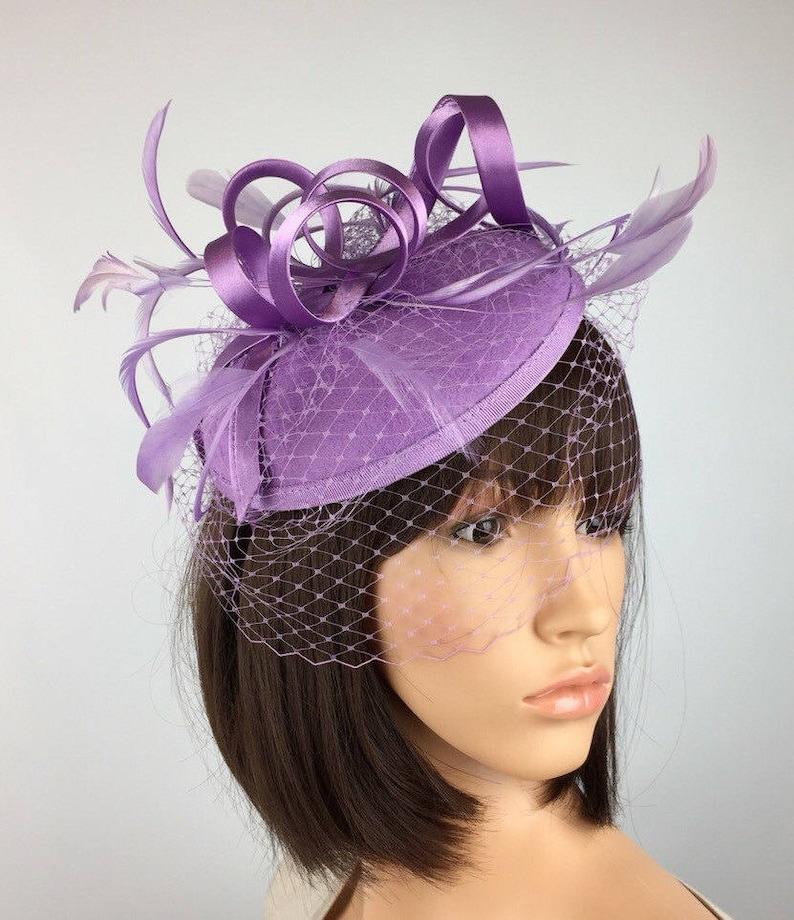 Pale Purple Fascinator Pillbox Wedding Hat Lilac Fascinator  2ba8f7c24b4