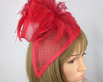 Red fascinator Ladies day Hat Occasion Wedding Hatinator Ascot Races mother of the bride hair