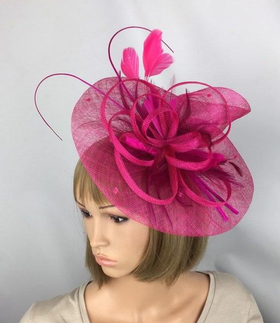 Fuchsia Pink Fascinator Hot Pink Hatinator Wedding Ladies Day  444820f9d7b