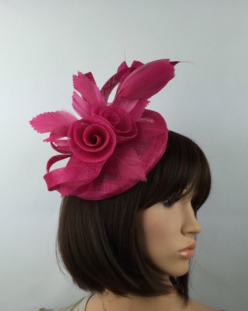 d77ea04b941 Fuchsia Pink Fascinator fuchsia pink Wedding hatinatorbMother