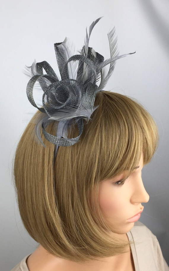 FASCINATOR Navy PERFECT FOR WEDDINGS Alice Band PROM Grey Code 31