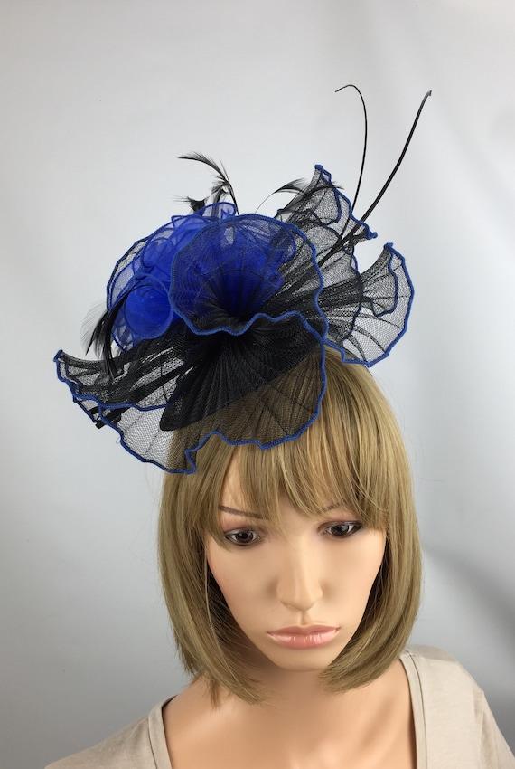 Black and Royal Blue Fascinator Wedding Hatinator Mother of  2f0f68d0459