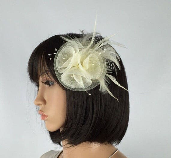 Coral Fascinator with Brooch Clip Feathers Occasion Wedding Ladies Day Races UK