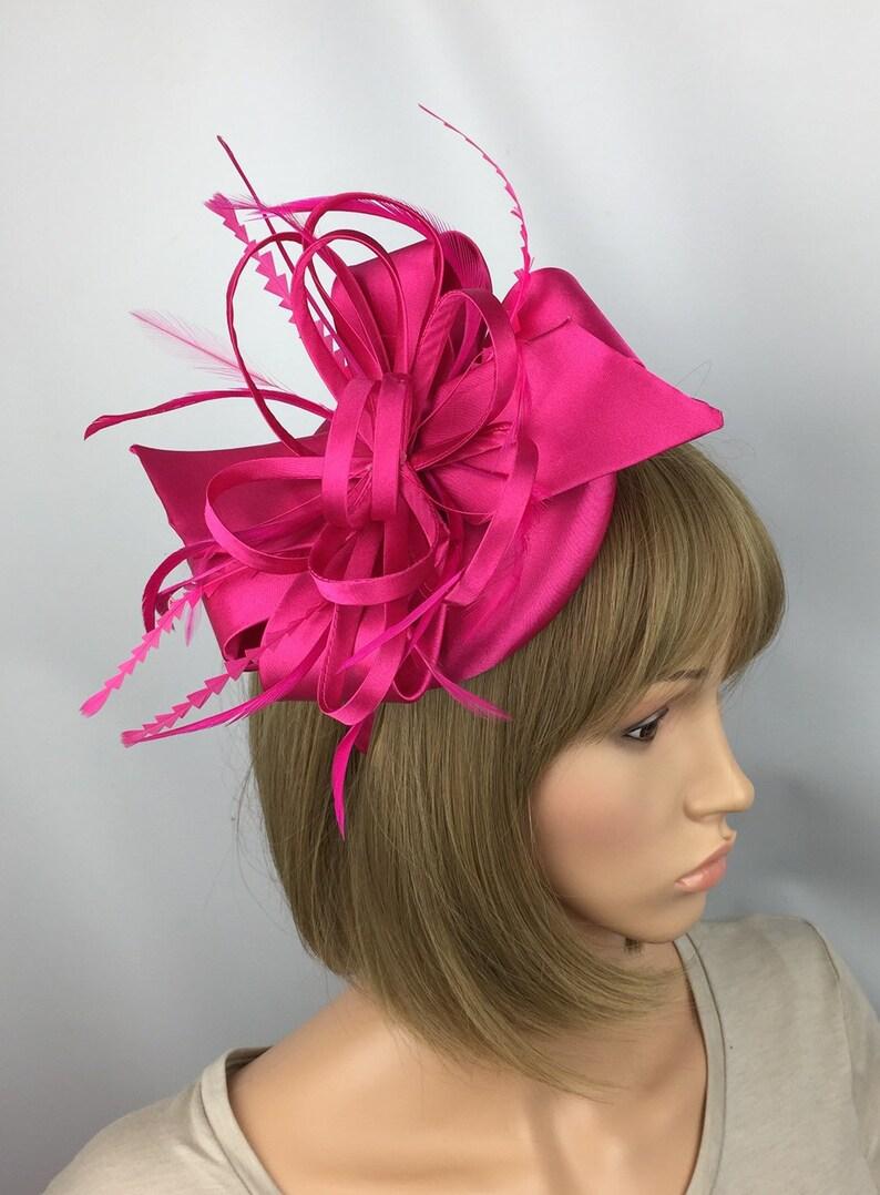 60ad5fb553e6a Fuchsia Pink Fascinator Satin wedding Fascinator mother bride
