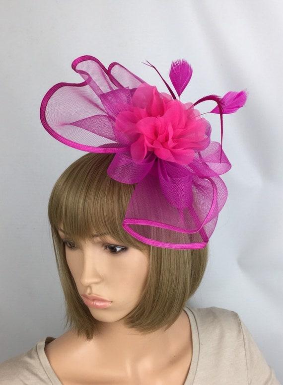 Fuchsia Fascinator Hot Pink Fascinator Wedding Hatinator  6e65c58b290