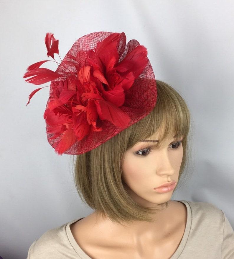 af7b47638a8cf Red Fascinator Red Hatinator Wedding Hat Mother of the Bride