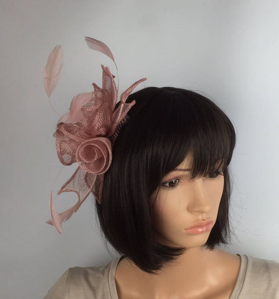 0e3419e1 Women's Accessories Occasion Wedding Races Fuchsia Pink Rose Comb Fascinator  with Feathers