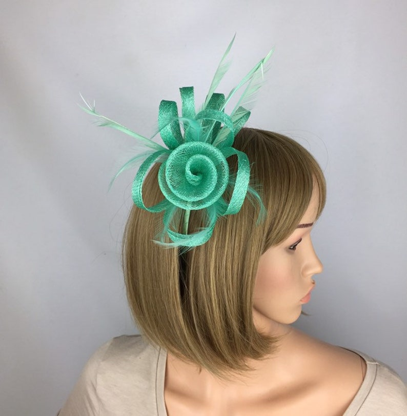 a8de04976a834 Green Fascinator Mint Green Fascinator Headband for Wedding Mother of the  Bride Occasion Hat Ascot Ladies Day Races Prom