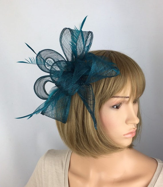 82ef970df4d59 Teal Fascinator On Comb Wedding Hatinator Races Ascot Ladies Day Mother of  the Bride Occasion